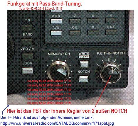 Funkgerät mit Pass-Band-Tuning = pbt