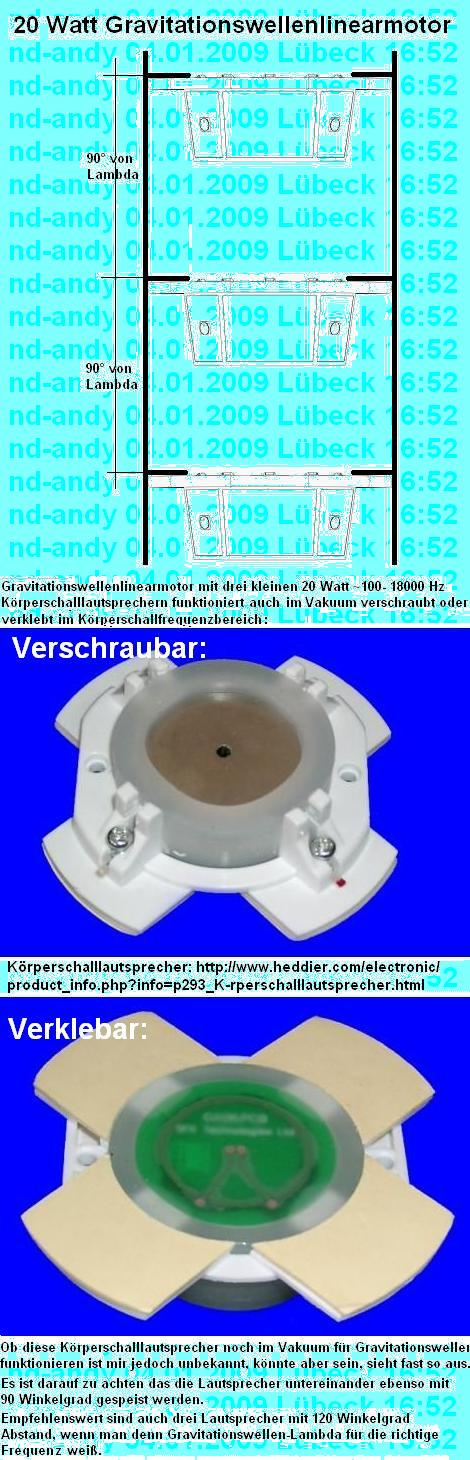Gravitationswellenlinearmotor aus drei Körperschalllautspechern im Ton-Frequenzbereich.