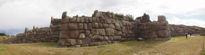 "These are the ruins of Sacsayhuaman (or ""sexy woman"") on one of the hills of Cusco. Unfortunately the Spanish destroyed it partly to pilfer the stones in order to build their own Churches and Cathedral."