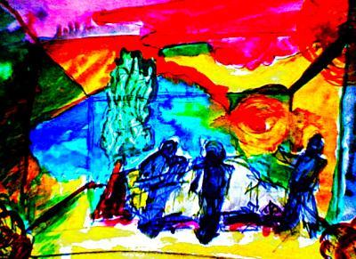 Bühnenbild Aquarellskizze Videoshot iPhoto