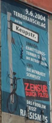 Zensiertes Plakat in Erinnerung des Keupstarassenanschlags