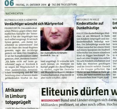 Ausschnitt der taz mit mehreren Artikel über körperliche Angriffe auf schwarze Menschen in Deutschland.