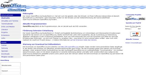 Startseite von OpenOffice.org Deutschland e.V. mit Joomla Version 1.5.10