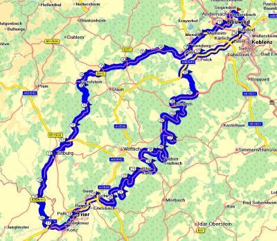 Screenshot der Tour (aufgezeichnet vom Garmin Navi) - Gesamtstrecke: 390 Kilometer