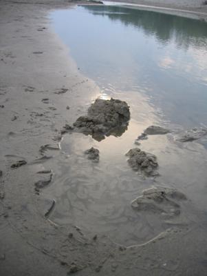 Schwimmender Sand am Strand.