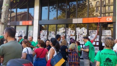 blockade der filialen der caixa catalunya am 20141024 in Barcelona