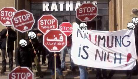 Protest gg Zwangsraeumung beim zustaendigen sozialstadtrat in reinickendorf