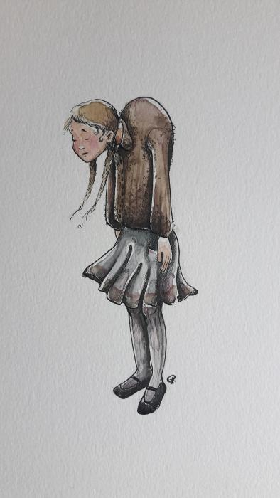 Sie war klein und zierlich und ging etwas<br /> krumm,<br /> denn sie trug unterm J&auml;ckchen &acute;nen Buckel<br /> herum.