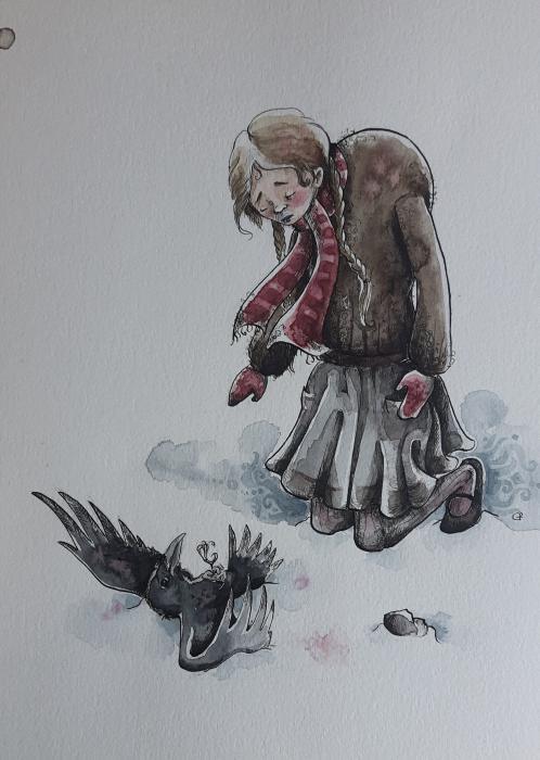 Einmal, als sie heim kam, da fand sie entsetzt<br /> im Schnee einen Raben, die Fl&uuml;gel <br /> verletzt.<br /> Und neben dem Tier einen kantigen Stein.