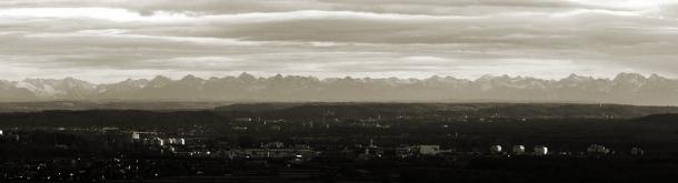 Blick von Ulm auf die Alpen