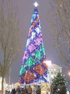 Der Weihnachtsbaum in Kiew auf dem Maidan