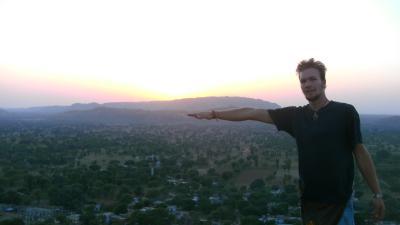 sunset on mountain top