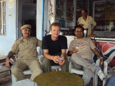 having a chai in a temple way to Jammu, with friends