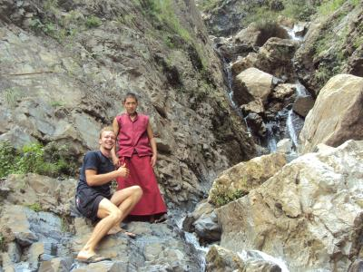 a monk and me washing clothes in the river