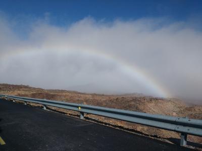 Auf dem Teide auf gleicher Höhe mit dem Regenbogen