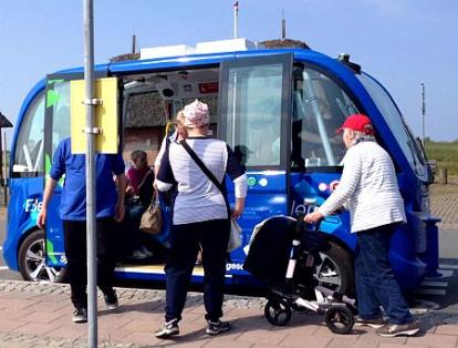 Autonomer Minibus NAVYA Mai 2019 auf Sylt