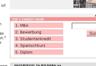 """Screenshot """"Top 5 Yahoo!Suche"""" auf Spiegel Online"""
