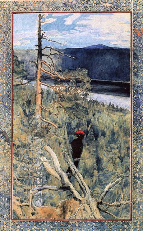 Aksell Gallen - Kallela, Der große Schwarzspecht, 1891