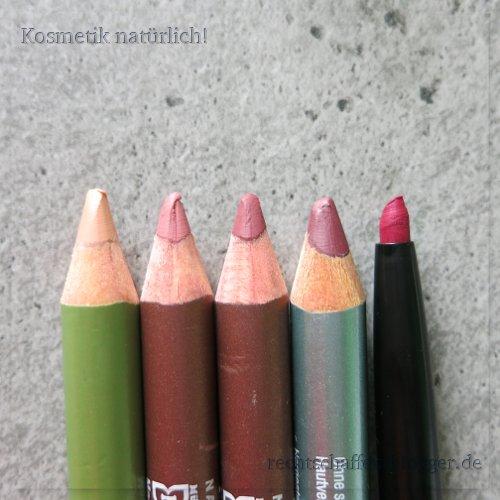 "5 Lipliner, Minen: Alverde 14 ""farblos"", Terra Naturi 04 ""cherry blossom"", Terra Naturi 05 ""brick"", Alterra 06 ""rosewood"", p2 091 ""dark pink"""