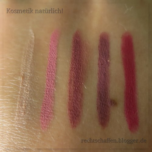 "5 Lipliner, Swatches: Alverde 14 ""farblos"", Terra Naturi 04 ""cherry blossom"", Terra Naturi 05 ""brick"", Alterra 06 ""rosewood"", p2 091 ""dark pink"""
