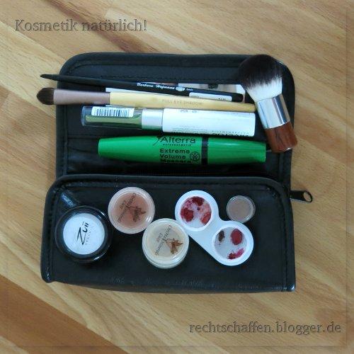 Inhalt meines Make-Up-Täschchens für eine 4tägige Reise