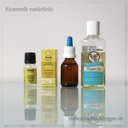 Gesichtsöl selbst gemischt mit Arganöl und Khadi White Lily