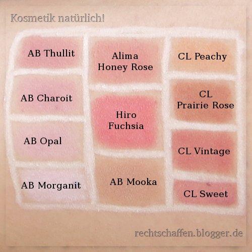 Mineral Rouge Swatches mit Namen