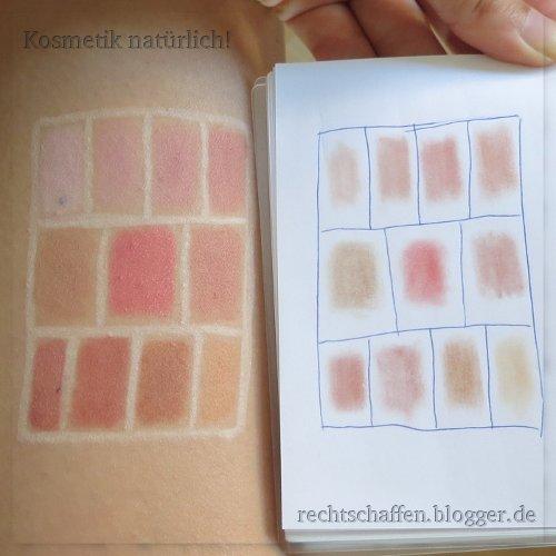 Mineral Rouge Swatches mit Swatches auf weißem Papier