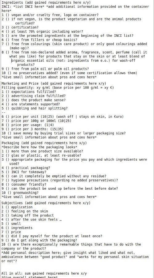 Meine Anforderungen an ein Produkt, wenn ich es nach dem Testen bewerte.