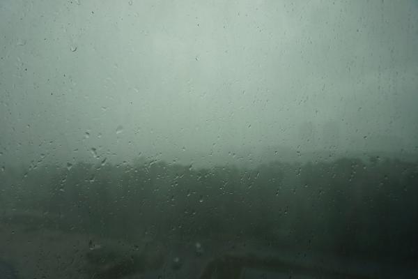 Das Bild zeigt die Sicht aus meinem Wohnheimfenster bei dem bisher stärksten Regen, den ich hier erlebt habe. Meistens sind die Regengüsse auch von Gewitter begleitet. Auffallend sind auch die überall hohen Bordsteinkanten in den Straßen. Leichter Regen stört hier überhaupt nicht, da man aufgrund der tropischen Temperaturen nicht durchfriert.