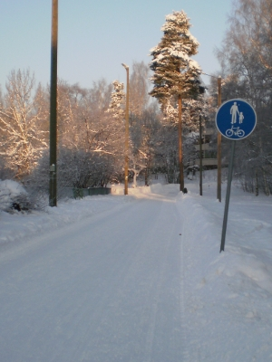 [Bild: schneebedeckter Fußgänger-/Radweg]