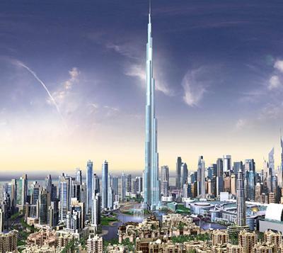 Birj Dubai in seiner Umgebung