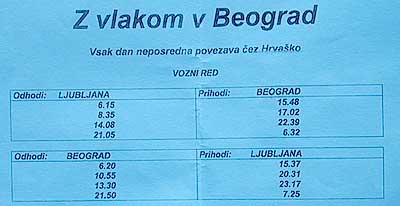 Train schedule Ljubljana - Belgrade. (novala)