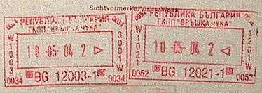 Bulgarian stamps in my passport. (novala)