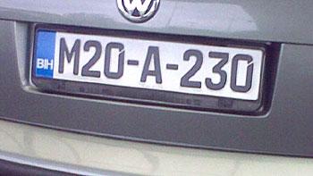 Bosnian licence plate. (novala)