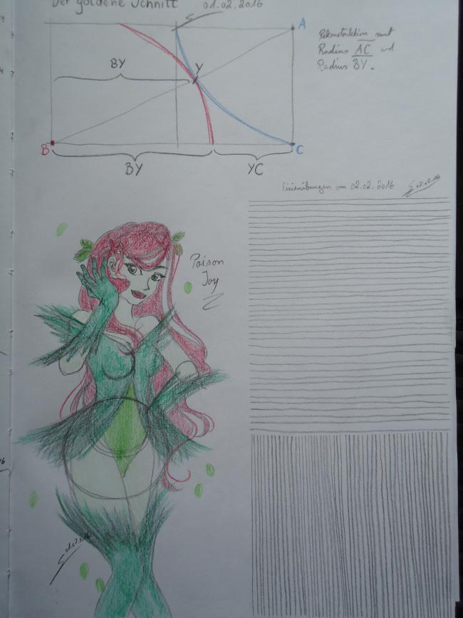 Goldener Schnitt, Linienübungen und Skizze von Poison Ivy