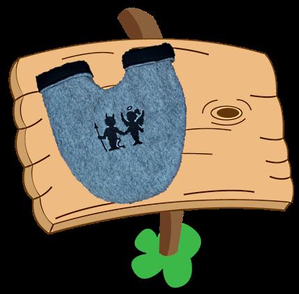 Partnerhandschuh mit Stickmuster Engelchen & Teufelchen Scherenschnitt