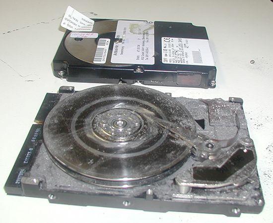 Bild eine kaputten Festplatte