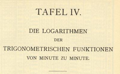 Tafel der trigonometrischen Funktionen