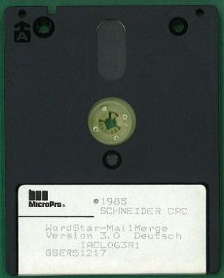 3-Zoll-Diskette mit Wordstar und Mailmerge